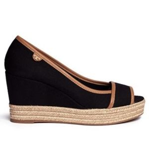 Size 10.5 Tory Burch Majorca Black Canvas Wedge